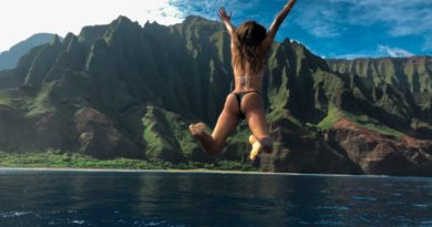 anastasiia boivka jumping off boat in bikini