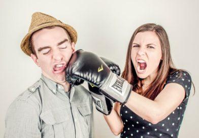 women punching her friendzone man